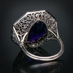 Antique Siberian Amethyst Ruby Diamond Platinum Ring Circa This early Art Deco hexagon-shaped platinum ring features an excellent Siberian amethyst (approximately ct) of a deep royal purple color framed by diamonds and calibre cut rubies. I Love Jewelry, Art Deco Jewelry, Edwardian Jewelry, Antique Jewelry, Royal Purple Color, Platinum Diamond Rings, Blue Rings, Amethyst, Rings For Men
