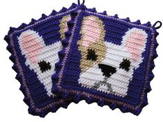 French bulldog potholders. This is a handmadeand original crochet design pot holder set featuring pied French bulldogs. Potholders are crocheted withroyal purple and havewhite and fawnfrench bulldogs. The bulldogs have chocolate brown eyes. These pot holders are double thick and the back panel is crocheted withroyal purple. Pot holders are borderedwith lavender and finished with a royal purple crochet ruffle. ***These pot holders are a very dark royal purple color (item appears dark blue in…