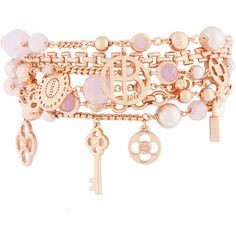 Henri Bendel Petal Charm Kitchen Sink Bracelet ($198) ❤ liked on Polyvore featuring jewelry, bracelets, accessories, rose gold, womens jewellery, charm bracelet, swarovski crystal bracelet, henri bendel bracelet and swarovski crystal charm bracelet