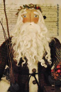 Primitive, Folk Art, OOAK Olde World Santa... Olde World Father Christmas with Large Sheep Pull Toy via Etsy.