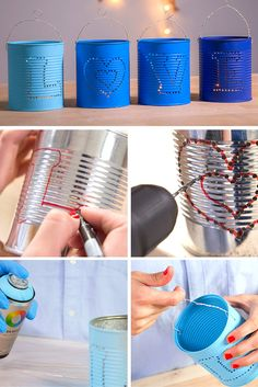 Portavelas con latas de conserva ➜ Hazte unos portavelas originales reciclando latas y alumbra tus noches de verano ;)  #DIY #Decoración #Manualidades #Portavelas #Latas #Reciclaje