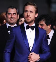 Blue Ferragamo Tux, Ryan Gosling Rocks it