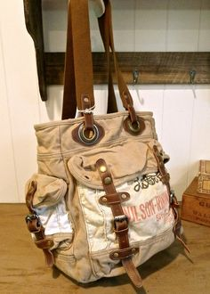 Items similar to Lester Pfister Seed Corn, El Paso, Illinois - Vintage Seed  Sack Large Cargo Bag - Americana OOAK Canvas   Leather Tote. 19533e4f09