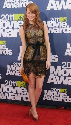 Emma Stone's best red carpet outfits—MTV Movie Awards, 2011
