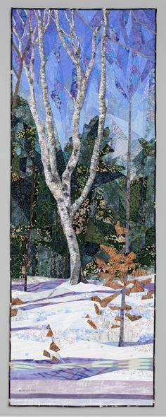 February, 84 x art quilt by Ruth B. Thread Art, Thread Painting, Tree Quilt, Quilt Art, Art Quilting, Fiber Art Quilts, Landscape Art Quilts, Winter Quilts, Sewing Art