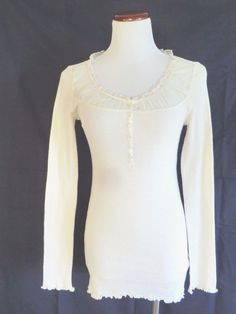 NWT DENIM & SUPPLY RALPH LAUREN IVORY LONG SLEEVE TOP TEE SP #DenimSupplyRalphLauren #ScoopNeck