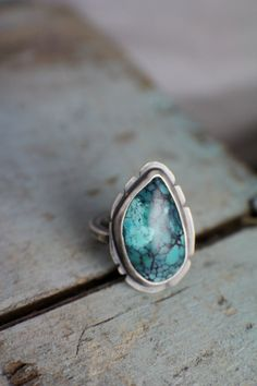 TIbetan Turquoise Ring in Sterling Silver, Bezel Set with hammered band, Artisan jewelry