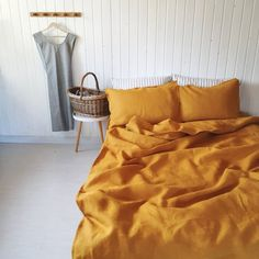 Check out our mustard bedding selection for the very best in unique or custom, handmade pieces from our shops. Linen Bedroom, Linen Duvet, Duvet Bedding, Master Bedroom, King Comforter, Comforter Sets, White Bedroom, Linen Sheets, Bed Linen Sets