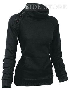 black casual sweatshirt with buttons