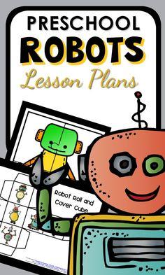 Preschool Robot Theme Printable Lesson Plan full of Hands-on Activities Robot Classroom, Preschool Classroom, Classroom Themes, Kindergarten, Preschool Lesson Plans, Preschool At Home, Preschool Activities, Educational Robots, Robot Theme