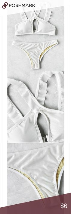WHITE CRISS-CROSS ROMWE SWIMSUIT!! top and bottom are both size small//bought of romwe//set retailed for $12.25//selling the set for only $5. Two small tears- one on the back of a strap and the other is where the swim suit gets hooked together- can easily be fixed!! so cute for the summer!!! Never worn ( only to try on & didn't come with tags ) Hygiene sticker on the bottoms!! ROMWE Swim Bikinis