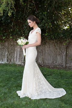 Bohemian Wedding Dress   STRETCH LACE GOWN with Train   Panelled Patchwork Construction   Ivory or White Bohemian Dress   Short Sleeves