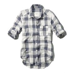 Abercrombie & Fitch The Classic Shirt ($20) ❤ liked on Polyvore featuring tops, shirts, flannels, camisas, navy plaid, navy tops, flannel tops, drape top, plaid shirt and tartan flannel shirt