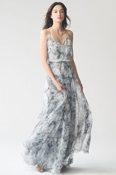Inesse in Watercolor Garden Blue by Jenny Yoo. Grey and blue print for bridesmaids or formal dress. Whimsical, youthful, and modern bridesmaid dress.  #springwedding #gardenwedding #bohowedding