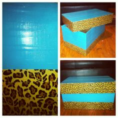 DIY Storage Box:  Duck tap and a cardboard box is all you need. Go green and re-use things. Cheap and an easy way to add a personal touch. Im using mine for dog toys!