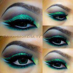 Green cut crease @airahmorena08