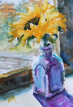 Watercolour Painting of sunflower in blue vase on window sill by Nora MacPhail Sunflower Art, Watercolor Sunflower, Watercolor And Ink, Watercolor Flowers, Watercolour Painting, Watercolors, Sunflower Paintings, Art Flowers, Watercolor Projects