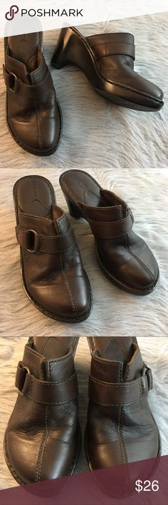 Born Brown Leather Slip On Shoes Clogs Heels EUC These shoes are in very good, lightly worn condition. Minor scuffs, scratches and marks from wear. Please see pics for more details (: Born Shoes Mules & Clogs