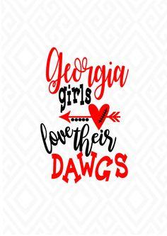 Georgia Girls Love Their Dawgs GA Bulldogs SVG DXF Eps