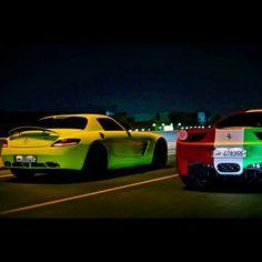 Mercedes SLS VS Ferrari 485 Italia