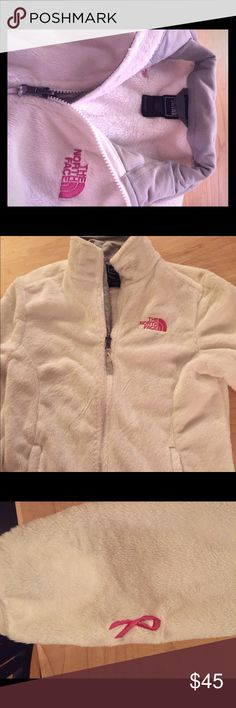 North Face fleece White North Face fleece. Perfect condition. Only worn a few times. Pink stitching and gray linings. Pink cancer awareness ribbon on the sleeve The North Face Jackets & Coats