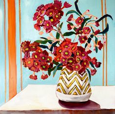 Gum Blossoms and gold chevron vase – Ali Wood Artist