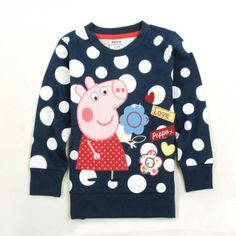 New 2014 Casual dress Peppa pig clothing child polka dot sweatshirt pullover pink pig 100% cotton baby girls long sleeve t shirt