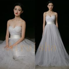 Simple A-line Light Grey Sweetheart Tulle Wedding Gowns,Wedding Dresses,Bridal Dresses 2014 on Etsy, 188,09 €