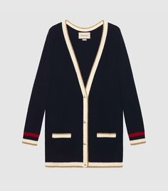Shop the Embroidered oversize knitted cardigan by Gucci. This oversize cotton cardigan has knitted Web detailing and an embroidered Loved appliqué on the back. Oversized Knit Cardigan, Cotton Cardigan, Oversized Tops, Blue Cardigan, Jumpers For Women, Cardigans For Women, Long Sweaters For Leggings, Women's Sweaters, Moda Vintage