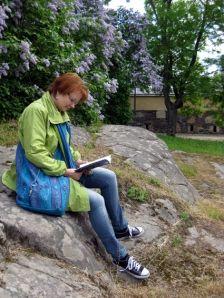 Reading in Suomenlinna Sea Fortress, Finland