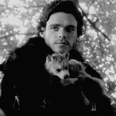 Robb Stark and his dire wolf. Game of thrones