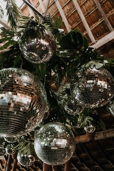 Discoball decoration for the dancefloor ∙ Planning, designing by Destination Weddings Tulum ( on IG) Production, Rentals, and Setup by Aquadeco Tulum Rentals ( on IG) Boho Beach Wedding, Beach Bbq, Floral Backdrop, Rental Decorating, Wedding Reception, Wedding After Party, Disco Ball, Reclaimed Furniture, Pipe Furniture