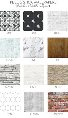 12 Peel & Stick Wallpapers That Don't Look Like Wallpaper At All (shiplap, subway tile, hex tile, marble, brick, stacked stone, reclaimed wood)