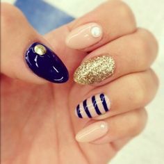 Nails - Cute Design - Almond Shape. I'm gonna do this with chevron instead of stripes