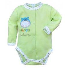 Kolejne body dla niemowląt!  Body Niemowlęce Rozpinane z Długim Rękawem z Nadrukiem Hipcia - Bobas. Bawełniane body posiada śliczny nadruk Główki Hippo oraz obramówki w stópki.   Sprawdź dostępne rozmiary i kolory na naszej stronie:)