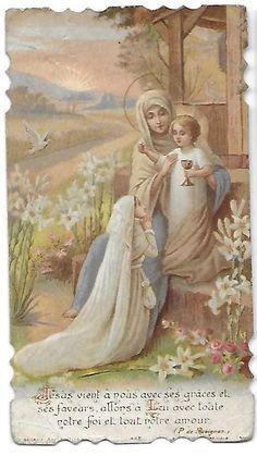 Vintage Holy Cards, Christian Images, Mary And Jesus, Hail Mary, Eucharist, Mother Mary, Catholic, Heaven, Faith