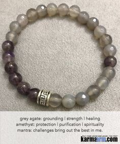 Yoga Beaded Bracelets. Grey Agate Purple Amethyst.Men's Women. Law of Attraction. LOA. Healing Energy Prayer Mantra Spiritual Mala.