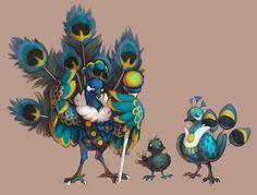 Fakemon: royal peafowl fairy/flying by mercurybird on DeviantArt Oc Pokemon, Real Pokemon, Pokemon Fan Art, Pokemon Fusion, Pokemon Stuff, Creature Concept Art, Creature Design, Aliens, Original Pokemon