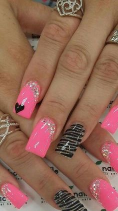 Friendly Nail Art Community with Nail Art Picture and Video Tutorials. Make your nails look awesome and share your nail art designs! Pink Nail Art, Cute Acrylic Nails, Cute Pink Nails, Bright Nails, Valentine Nail Art, Valentines Day, Valentine Nail Designs, Valentines Design, Super Nails