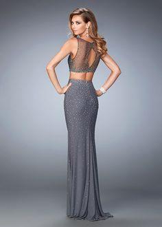 La Femme 22567 Metallic Beaded Sexy Two Piece Prom Dress