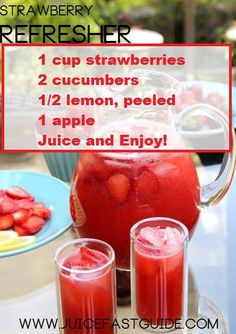 Strawberry Refresher from juice fast guide: 1 cup strawberries 2 cucumbers lemon 1 apple Healthy Juice Recipes, Juicer Recipes, Healthy Juices, Healthy Smoothies, Healthy Drinks, Baby Juice Recipes, Detox Juices, Blender Recipes, Green Smoothies