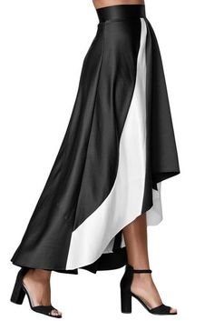 Black Contrast White Insert Hi-low Maxi Skirt #skirt #maxiskirt #hilow #winter
