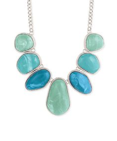 Another great find on #zulily! Silvertone & Aqua Stone Necklace #zulilyfinds