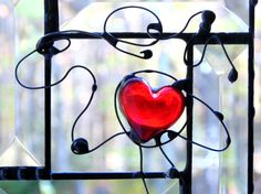 Red heart stained glass suncatcher panel #gift #heart #suncatcher  by DesignsStainedGlass