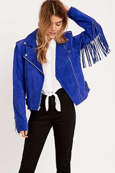 Urban Renewal Vintage Re-Made Suede Fringe Jacket in Blue - Urban Outfitters