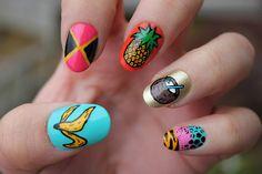 nail art, fruits, pineapple, banana, coconut