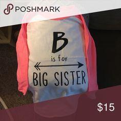 Big sister t shirt Hot pink and white baseball t Shirts & Tops Tees - Long Sleeve