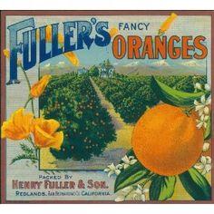 Redlands Fuller's Fancy Orange Citrus Fruit Crate Box Label Art Print