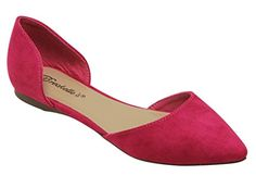 Breckelles Dolley 52 women's d'orsay Flat Almond pointed Toe Slip On Suede Fuchsia 9 - http://all-shoes-online.com/breckelles/9-b-m-us-breckelles-dolley-52-womens-dorsay-flat-toe-4