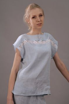 Just simple linen pajama top decorated with delicate cotton laces at front. More…